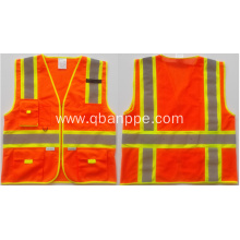 Orange reflective safety vest tape contrasting material